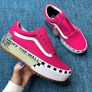Vans Off The Wall Pink Platform Sneakers 10